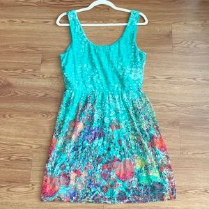 Blue Lace Sundress Multicolored Floral Print